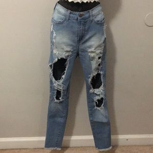 Distressed Fishnet Skinny Jeans